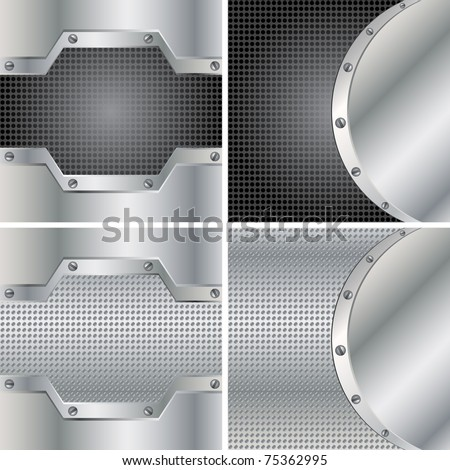 Abstract backgrounds with round metal plates and screws - stock vector