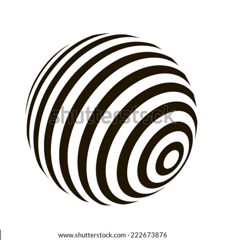 Abstract ball with striped pattern on a white background, vector graphics  - stock vector