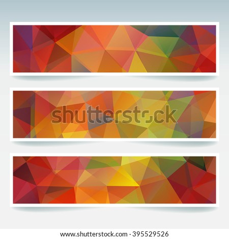Abstract banner with business design templates.  Set of Banners with polygonal mosaic backgrounds. Geometric triangular vector illustration. Orange, brown, green, red colors.  - stock vector