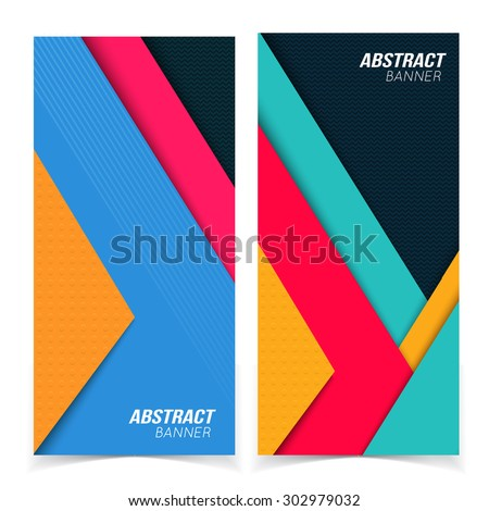 Abstract banners. Multicolored shapes shadow overlap 3D dimension. Modern flat material composition. Geometric vector template. - stock vector