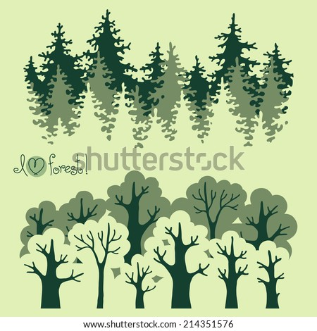Abstract banners of green deciduous  forest and coniferous forest. Vector illustration. - stock vector