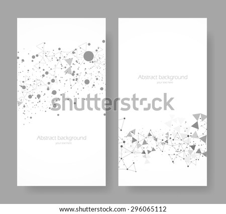 Abstract banners with grey triangles and circles - stock vector