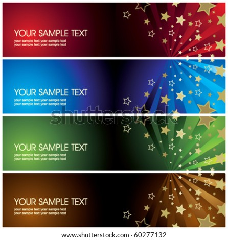 abstract banners with stars - stock vector