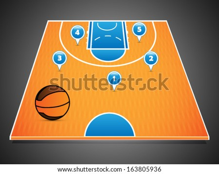 Abstract basketball half court in perspective, with players positions marks - stock vector
