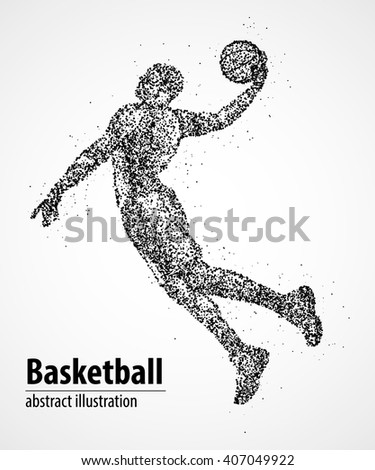 Abstract basketball player in jump from the black circles. Vector illustration. - stock vector