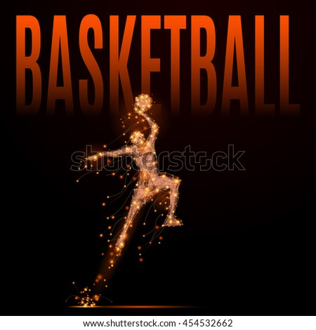 Abstract basketball player in jumping to the basket. Athlete in motion - stock vector