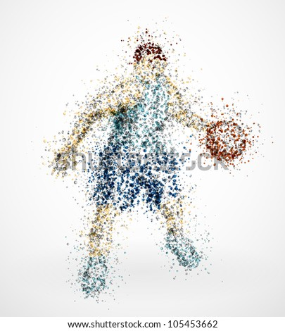 Abstract basketball player with ball. Eps 10 - stock vector