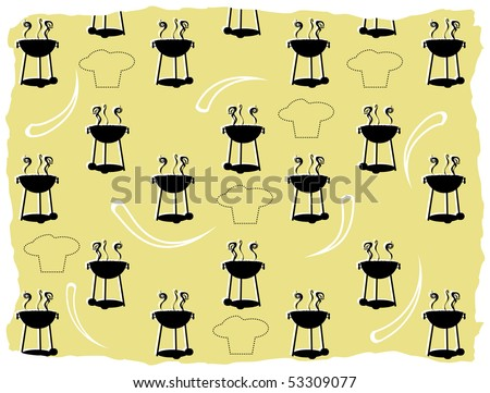 Abstract BBQ cooking pattern silhouette chef outline - stock vector