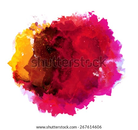 Abstract beautiful and elegant colorful bright vector watercolor spot hand painted background. Text template. Summer colors. Yellow, magenta, pink and red shades.   - stock vector