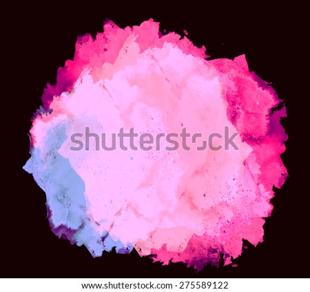Abstract beautiful bright watercolor art hand paint on black background. Grunge vector illustration. Isolated copy text template. Spring summer colors. Magenta pink lilac shades. Fashion trend hues. - stock vector