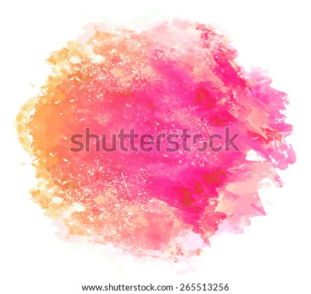Abstract beautiful  bright watercolor art hand paint on white background. Vector illustration.Text template. Spring summer colors. Orange, yellow, magenta and red shades. - stock vector
