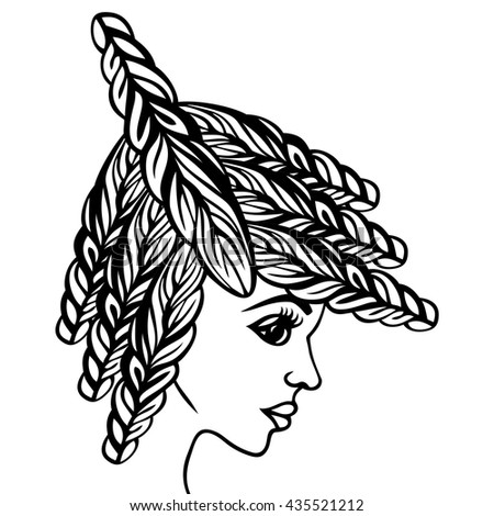 Abstract beautiful fashion women's hairstyle on long hair with elements weave trendy braid. Hairdo with curled hair curls, coloring book. Portrait of a woman. Hair salon, barber stylist.  - stock vector