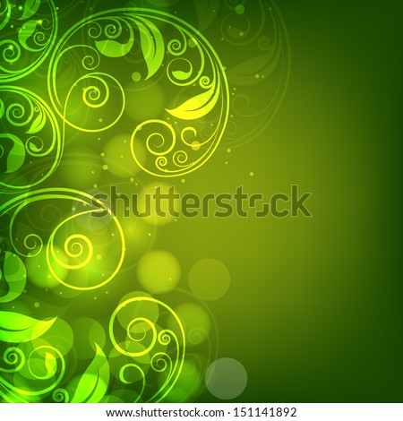 Abstract beautiful green floral background.  - stock vector