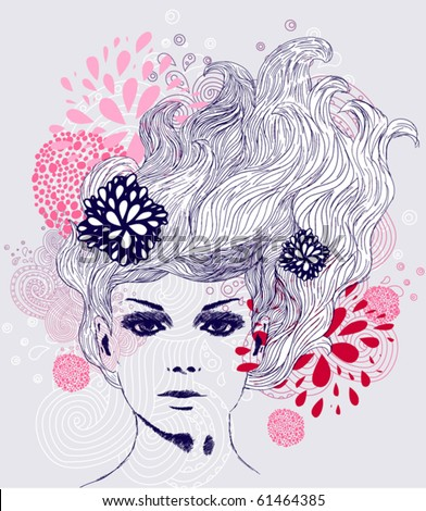 abstract beautiful hand-drawn woman - stock vector