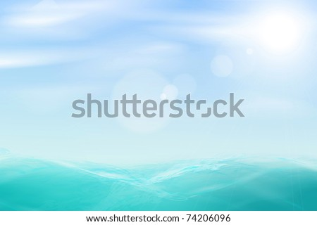 Abstract beautiful sea and sky background. Vector eps10 illustration - stock vector