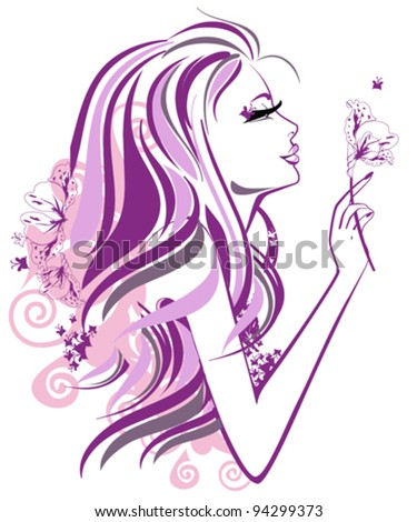 Abstract beautiful woman with flowers and butterflies in lines - stock vector