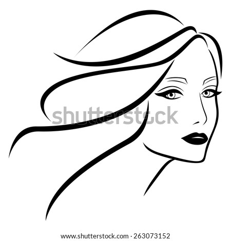 Abstract beautiful young lady with wavy hair, hand drawing vector outline