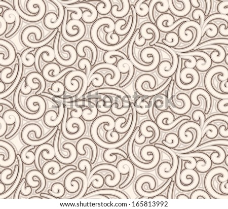 Abstract beige swirly background, vector seamless pattern - stock vector