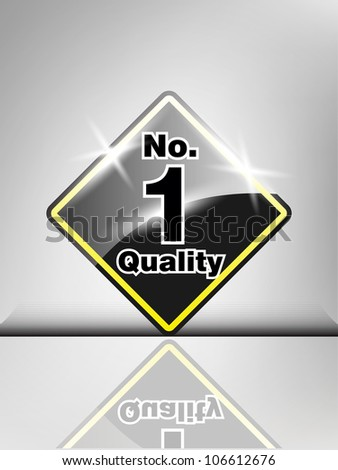 Abstract  best quality no. 1 winner shiny black label in gray color. - stock vector