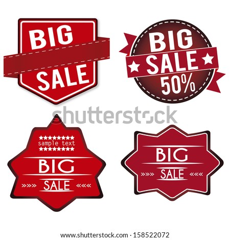 abstract big sale labels on white background