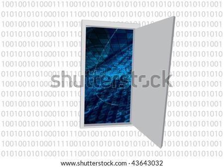 abstract binary code door - stock vector