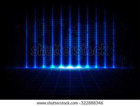abstract binary code with map technology design background - stock vector