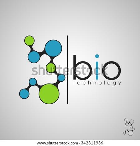 Abstract biotechnology molecule atom dna chip logo design template.  - stock vector