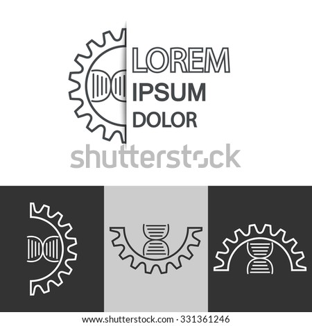 Abstract biotechnology molecule atom DNA chip logo design template. Medicine, science,  technology, laboratory, electronics logotype vector icon. - stock vector