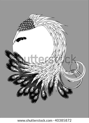 abstract bird from fairy tale - stock vector