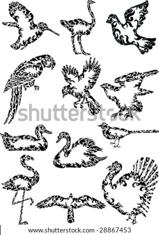 abstract birds - stock vector