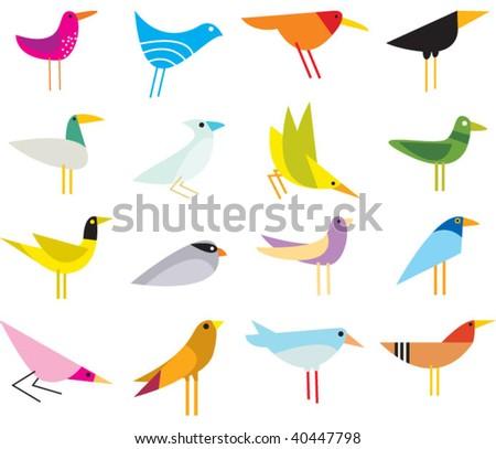 abstract birds - stock vector