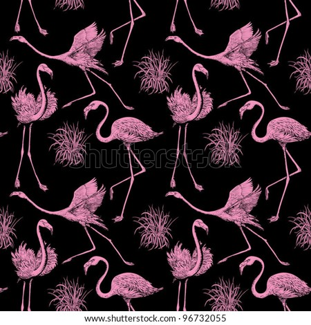 Abstract birds background, fashion seamless pattern, monochrome vector wallpaper, vintage fabric, creative black, pink wrapping with graphic flamingos ornaments - summer and spring theme for design - stock vector