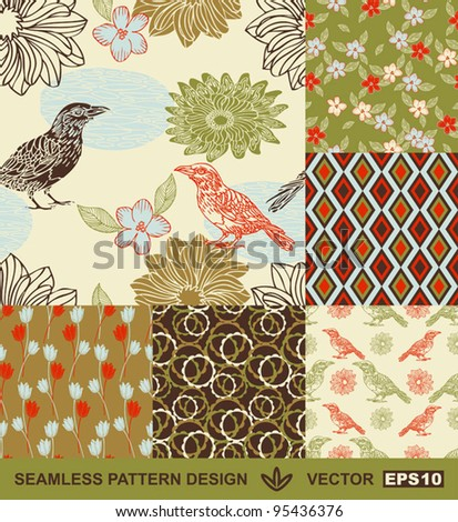 Abstract birds backgrounds set, graphic flowers vector wallpapers, seamless patterns, fabrics and wrappings with geometric ornaments; summer, spring and autumn theme decoration and design - stock vector