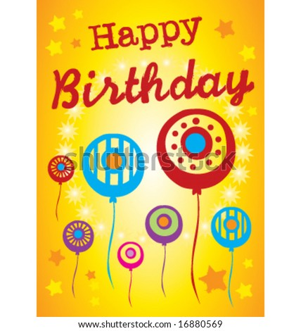 Abstract birthday poster greeting card illustration - stock vector