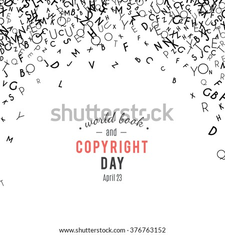 Abstract black alphabet ornament border isolated on white background. Vector illustration for education, writing, poetic design. Random letters fall from top. World book and copyright day - stock vector