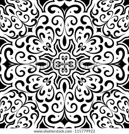 Abstract black and white background, seamless vector pattern - stock vector