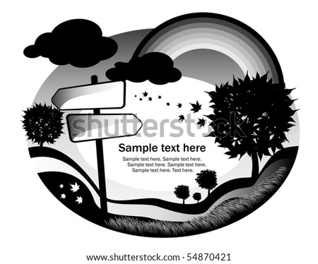 abstract black and white background with signpost - stock vector