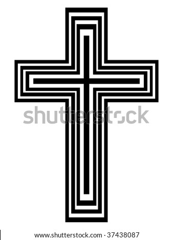 Abstract black and white cross - vector illustration - stock vector