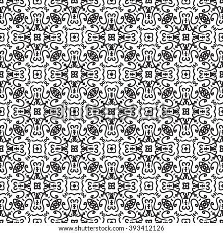 abstract black and white ethnic seamless pattern