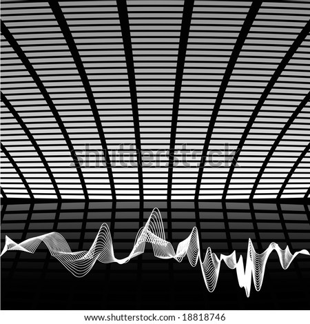 Abstract black and white hi tech music composition, with sound wave. - stock vector