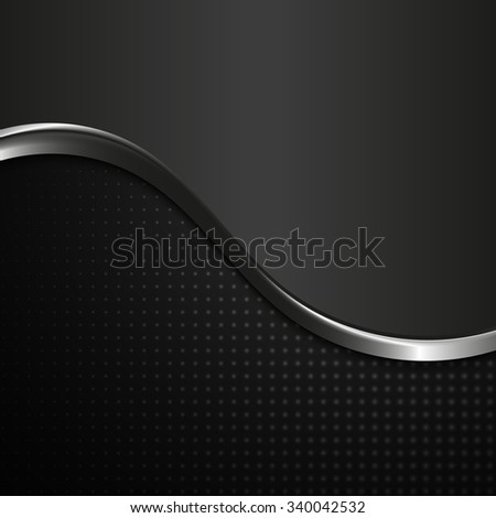 abstract black and white metal wave style vector background - stock vector