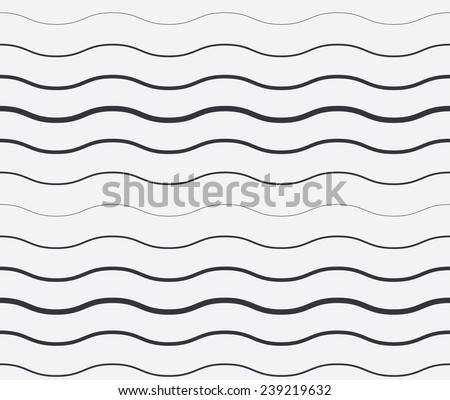 Abstract black and white seamless vector waves background - stock vector