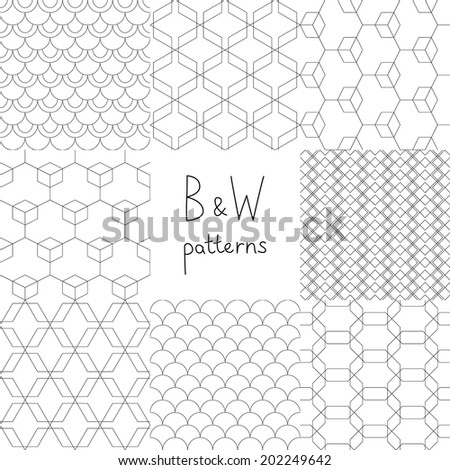 Abstract black and white simple geometric seamless patterns set, vector - stock vector