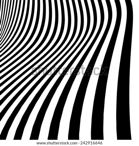 Abstract black and white striped curved background - stock vector