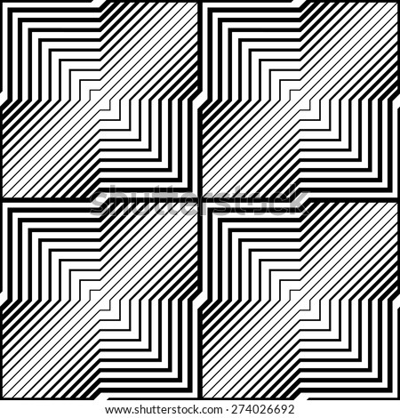Abstract Black and White Striped Vector Seamless Pattern