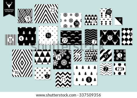 Abstract black and white twenty four various seamless patterns set. Count down till christmas. Advent calendar. Vector - stock vector