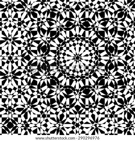 Abstract black and white vector geometric pattern - stock vector