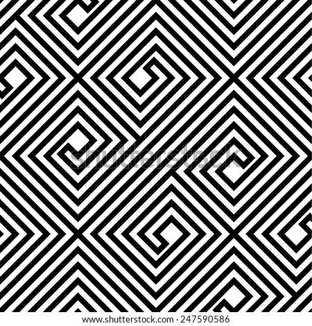 Abstract Black and White ZigZag Vector Seamless Pattern - stock vector