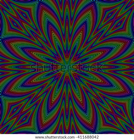 Abstract black background with colorful flower. Seamless pattern.