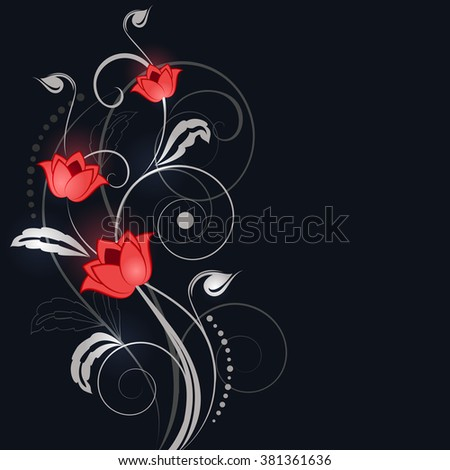 Abstract black background with white and red flower ornament. - stock vector